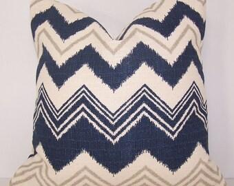 Burlap PILLOW COVER - Navy Chevron - Euro - Lumbar - Toss Pillow - Blue Pillow - Premier Prints - Ikat Pillow - Couch Pillow - Lumbar