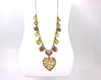 Vintage Glass Works Studio Signed Long Brown, Green And Gold Glass And Enamel Heart Necklace