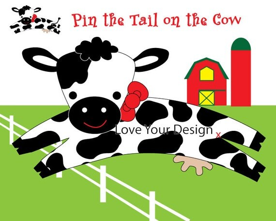 Cow Farm Game For Birthday Party Pin The Tail On The Cow