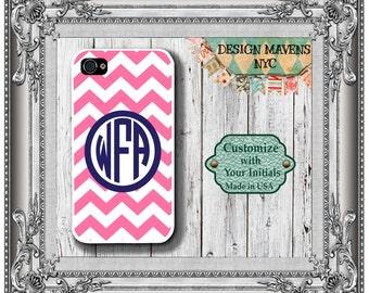 Preppy Pink Monogram iPhone Case, Personalized iPhone Case, iPhone 4, iPhone 4s, iPhone 5, iPhone 5s, iPhone 5c, iPhone 6, Phone Case
