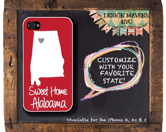 Personalized iPhone Case, State Love Alabama Plastic iPhone Case, iPhone 4, 4s, iPhone 5, 5s, iPhone 5c, iPhone 6, Phone Cover, Phone Case