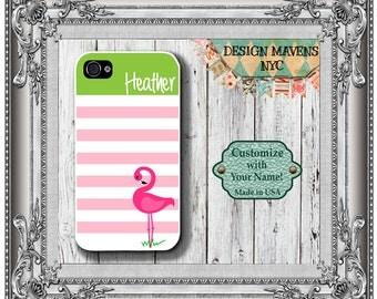 Preppy Flamingo Stripe Monogram iPhone Case, Personalized iPhone Case,  iPhone 5, 5s, 5c, iPhone 6, 6s, 6 Plus, SE, iPhone 7, 7 Plus