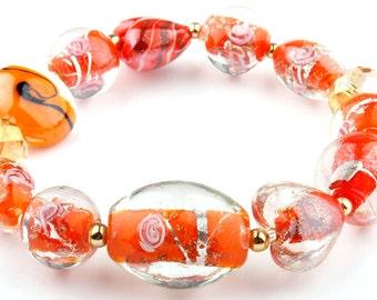 Pumpkin Murano Glass Stretch Beaded Fashion Bracelet