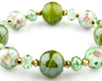 Green Floral Murano Glass Beaded Stretch Fashion Bracelet