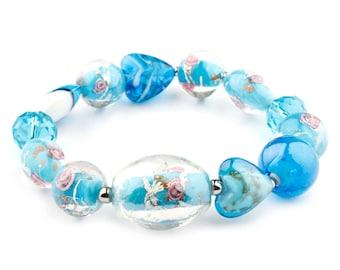 Blue Murano Glass Stretch Beaded Fashion Bracelet