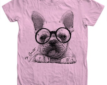 French Bulldog Tshirt Custom Hand Screen Print American Apparel Crew Neck Available: S, M, L, Xl, 2Xl