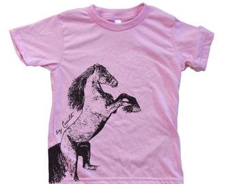 Kids Horse T shirt  Hand Screen Printed  American Apparel Short Sleeve Crew Neck