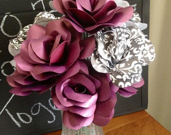 Classy Paper Roses- Deep Purple-Black-White-Damask