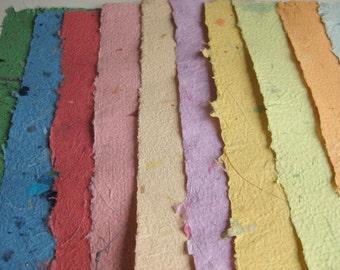 10 Beautiful Sheets of Handmade Paper Mixed Colors