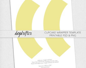 Print Your Own Custom Cupcake Wrappers Template -- DIY Instant Download Cupcake Wraps -- 8.5x11 Paper