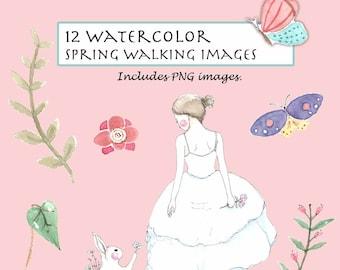 CLIP ART Watercolor Vintage Cherry Blossom Set. 10 Images.