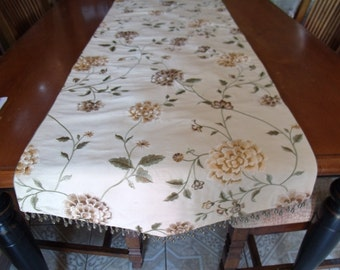 20x62 Embroidered 100% Silk Table Runner