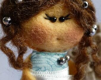 Felt doll brooch, Matilda Mint Apple , Felt doll, Fabric Brooch, Art Brooch, Wearable Art Jewelry, Felt brooch, Doll Brooch,