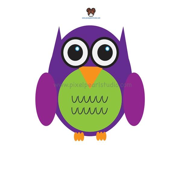 Items similar to Purple Owl Clip Art // Cute Owl Bird Clip ...