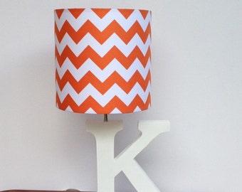 Small Orange/White Chevron Drum Lamp Shade - Nursery, Girl's or Boy's Lamp Shade