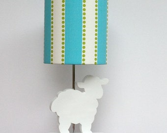 Small Girly Blue/Chartreuse Lulu Design Drum Lamp Shade - Nursery or Girl's Lamp Shade
