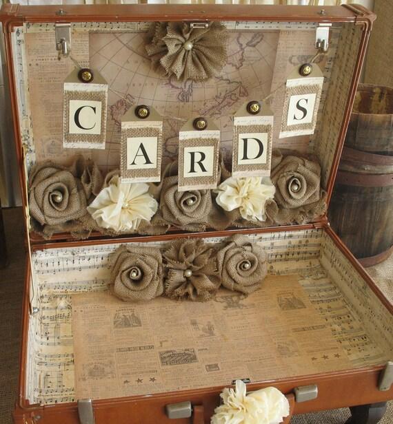 Shabby Chic Rustic Wedding Ideas: Vintage Suitcase Wedding Card Holder Shabby Chic Wedding