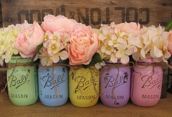 Set Of 5 Pint Mason Jars Easter JarsPainted Jar
