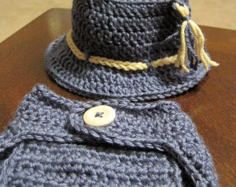 Baby Fisherman Beanie and Diaper Cover Set - FT040