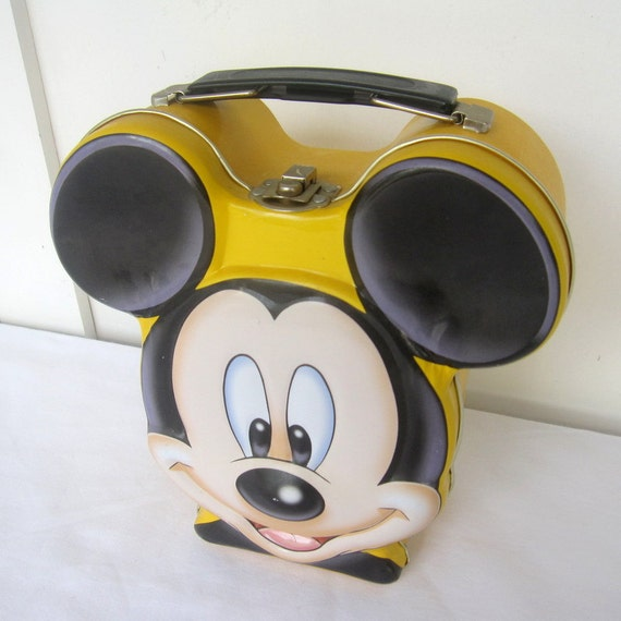 Mickey Mouse Head Shaped Lunch Box Yellow And Black Metal