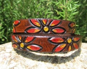 Hand Painted Tooled Leather - Daisy - Double Bracelet Cuff, Choker, Hair Twist