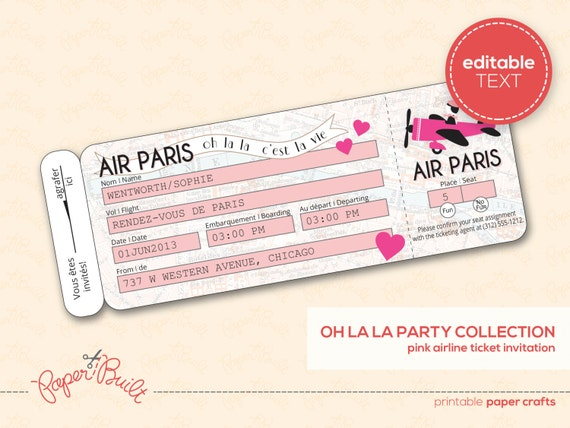 Printable Paris Party Airline Ticket Invitation By