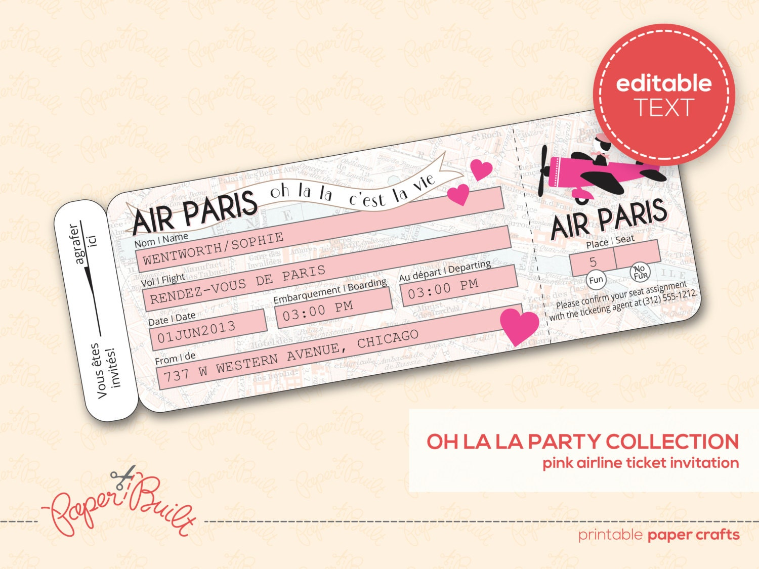 ... Template Printable paris party airline Plane Ticket Template Printable