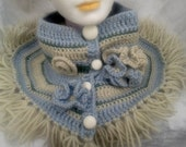 Pastel Blue Cowl  French Neck Warmer Handmade Pastel Blue Gray Green 100% Wool  Flowers, Fringes - Retro 60's White Candy Buttons