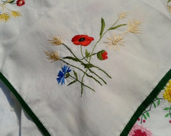 Red Poppy Victorian White Tea Tablecloth Ear of Wheat Handmade Hand Embroidered #sophieladydeparis