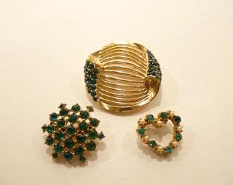 Beautiful Trio of Emerald Green Rhinestone Brooches / Pins