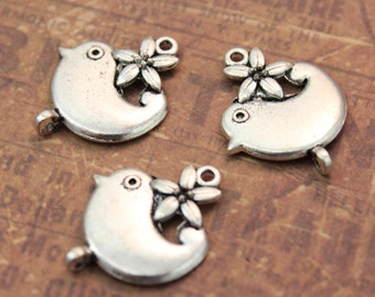 10 Bird Charms Bird Pendants Antiqued Silver 17 x 17 mm