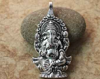 1 Pcs Large GANESHA Pendant Ganesha Charms Antique Silver Tone 30 x 60 mm
