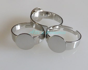 Ring blanks 10 adjustable Ring blanks with 10 mm pad Silver Tone ring blanks