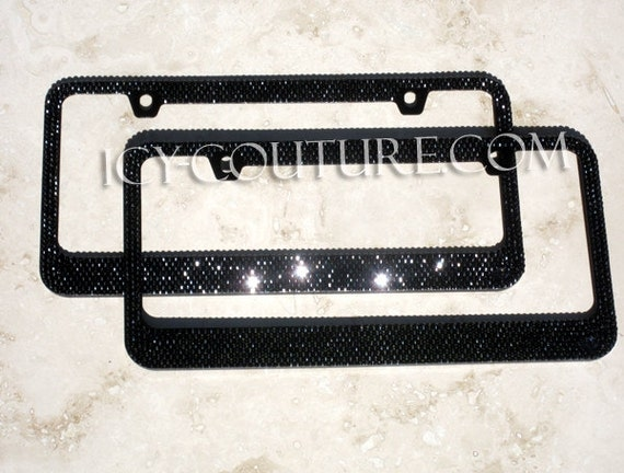 black on black swarovski crystal bling license plate frame