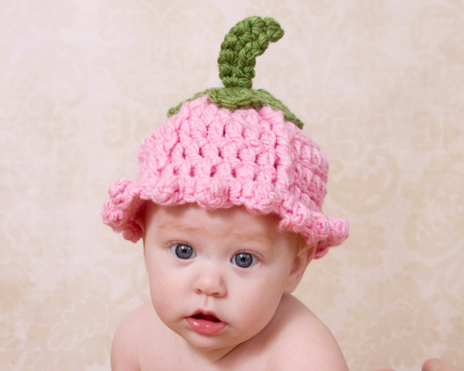 Crochet Flower Pattern For Baby Hat : Pattern Flower Baby Hat Tulip Crochet Pattern Quick Flower
