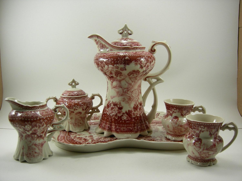 Art Nouveau Victorian Design Teapot Two Teacups Sugar And