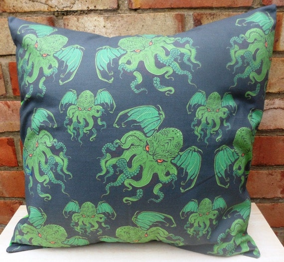 Cthulhu fabric cushion handmade by alien by aliencoutureuk for Alien fabric