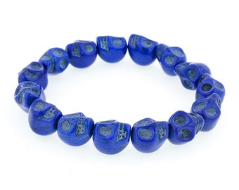 Day of the Dead Jewelry Howlite Skull Bracelet-Blue