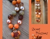 Fall Owl necklace, chunky bead necklace, polymer clay pendant , bubblegum beads, - SweetBlossomsShop