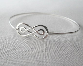 Sterling Silver Infinity Bangle /Sterling Silver Double Infinity Bracelet / Silver Bangle / Double Infinity Bracelet / Bride / Bridesmaids