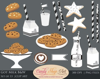 Milk and Cookies Clip Art, Chocolate Chip Cookies Clipart, Milk Clipart - Instant Download