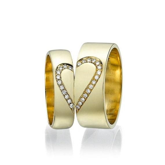 Men and Women Heart Wedding Bands 0.14 carat Diamonds Unique - photo #29