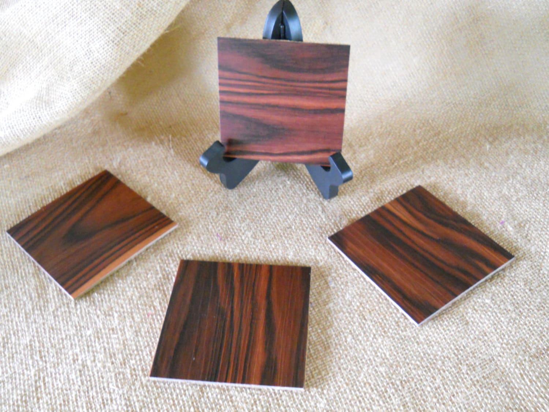Upcycled Vinyl Flooring Coasters Wood Grain Coasters Table