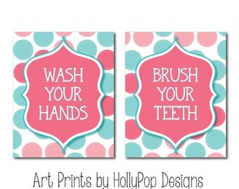 Pink Teal Bathroom Art Childrens Bathroom Wall Art Bathroom Wall Decor Kids Bathroom Manners Brush Your Teeth Wash Your Hands Bathroom Art
