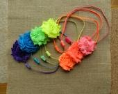 Infant/Baby/Toddler/Little Girl Handmade Headband / Shabby Chiffon Hair Clip and Headband GIFT SET / Rainbow Neon Headband Set