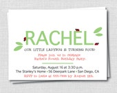 Modern Ladybug Invitation - Garden Themed Party - Girl Birthday - Digital Invitation or Printed Invitations - FREE SHIPPING
