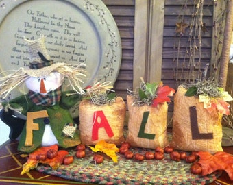 Primitive Country FALL Scarecrow/Pumpkin Table Sitter