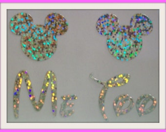 Disney Inspired Me Too Shoe Stickers You Pick Color Sparkly Wedding Shoe Decals