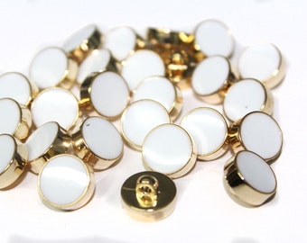 15 Pcs Round Gold Metal Cover Shiny Buttons with White Middle - for sewing, fashion crafts and accessories