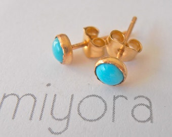 Turquoise Stud Earrings 4mm 14K Yellow Gold Filled Handcrafted